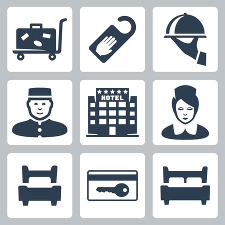keycard: Vector hotel icons set: luggage cart, do not disturb sign, dish, receptionist, five-star hotel, chambermaid, single bed, key card, double bed Illustration