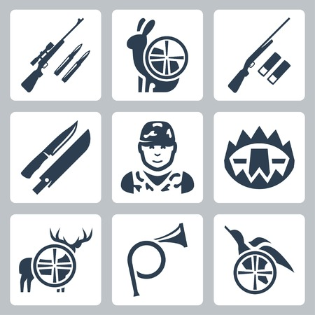 Vector hinting icons set: sniper rifle, hare, shotgun, hunting knife and sheath, hunter, trap, deer, hunting horn, duck Çizim