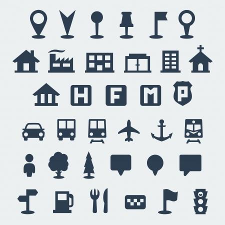edificio escuela: Aislado vectoriales del mapa iconos conjunto