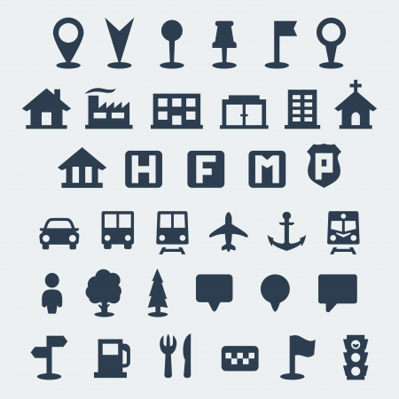 Vector isolated map icons set Çizim