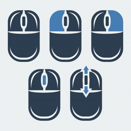 computer mouse icon: Vector computer mouse and its buttons indication