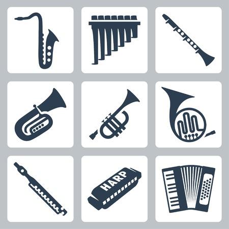 Instrumentos musicales vectoriales: pipas, armónica y acordeón.