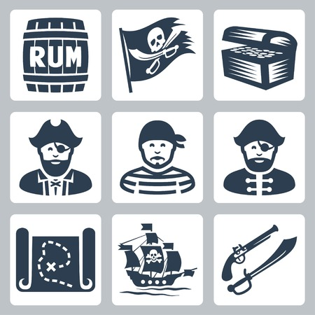 rum: Vector pirates, piracy icons set