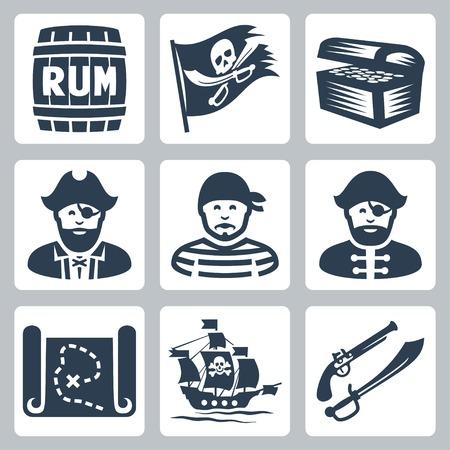 treasure chest: Vector pirates, piracy icons set