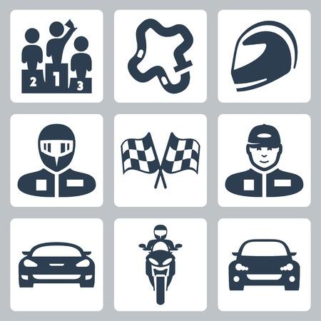 motociclista: Iconos de carreras vector: podio, pista, casco, corredor en el casco, la bandera de carreras, corredor en la tapa, coche de competición, motocicleta, coche de la reunión