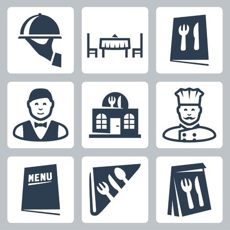 serviette: Vector isolated restaurant icons set