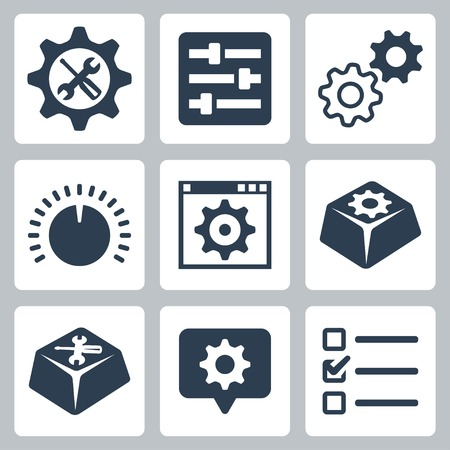industry icon: Vector isolated settings icons set
