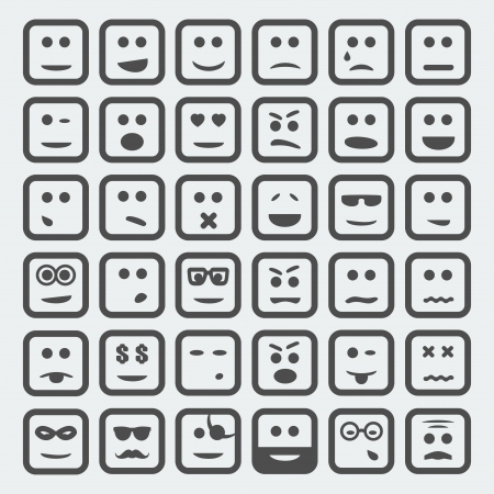 unshaven: Vector cartoon square faces set