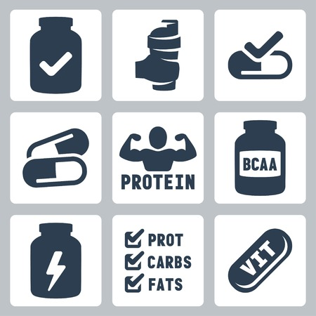 bolus: Vector isolated sport supplements icons set Illustration