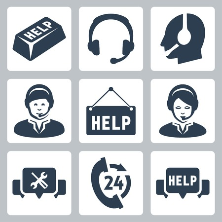 Vector support, call center icons set Ilustração