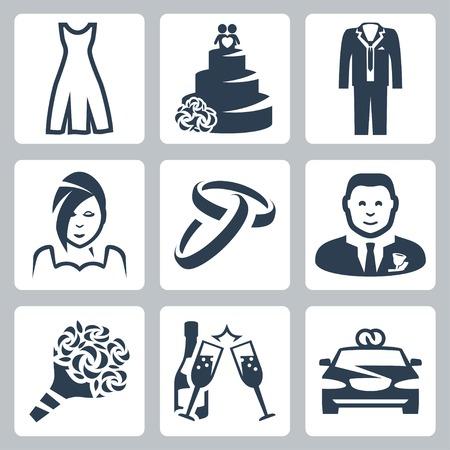 anillo de boda: Aisladas de vectores iconos de la boda fijados