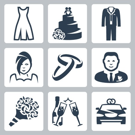 civil partnership: Vector isolated wedding icons set