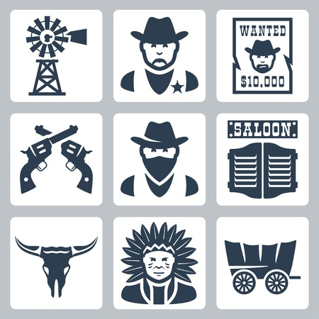 wild wild west: Icone vettoriali isolato occidentali set: mulino a vento, sceriffo, ha voluto poster, revolver, bandito, salone, longhorn cranio, capo indiano, prateria goletta