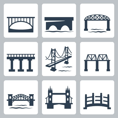 suspension bridge: bridges icons set
