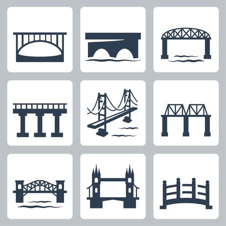 bruggen pictogrammen instellen Stock Illustratie