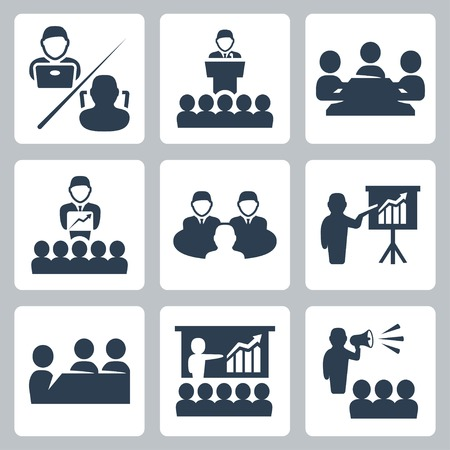 business people meeting: conference, meeting icons set