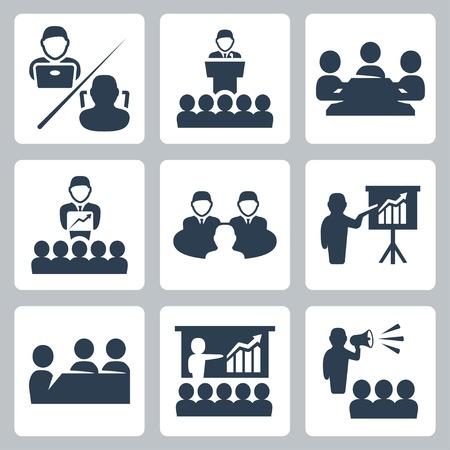 sala de reuniones: conferencias, reuniones iconos establecidos