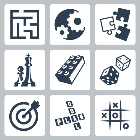 tic tac toe: business strategies and development game concept icons set Illustration