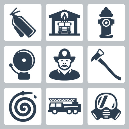equipments: fire station icons set: extinguisher, fire house, hydrant, alarm, fireman, axe, hose, fire truck, gas mask