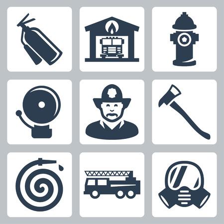 iconos de estación de bomberos establecen: extintor, casa del fuego, boca de riego, alarma, bombero, hacha, manguera, camión de bomberos, una máscara de gas Vectores