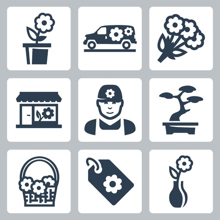 tally: floral shop icons set