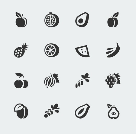 fruits and berries mini icons set Illustration