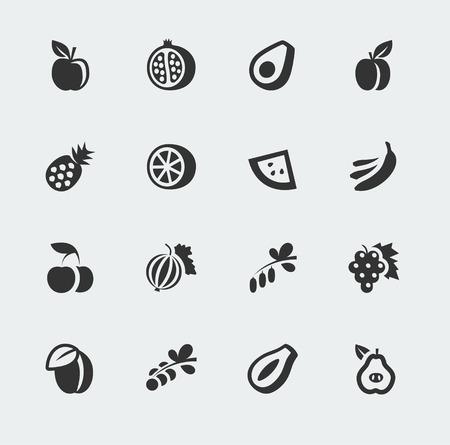 frutos rojos: frutas y bayas de mini iconos conjunto