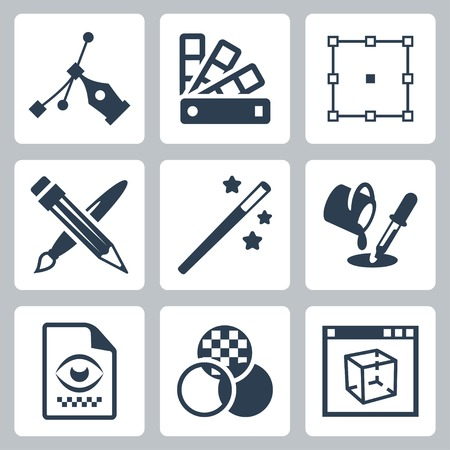 graphic design icons set Illustration