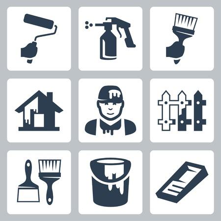 pulverizador: casa pintor de iconos conjunto Vectores