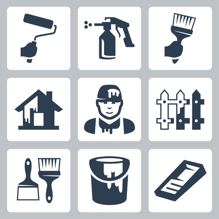 house painter icons set