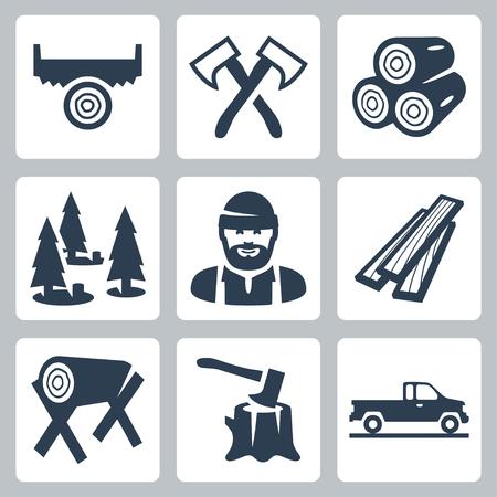 iconos leñador establecen Ilustración de vector