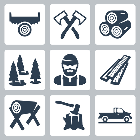 tree felling: lumberjack icons set Illustration