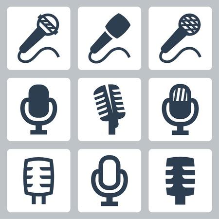 microfono antiguo: iconos de micrófono aislado Conjunto