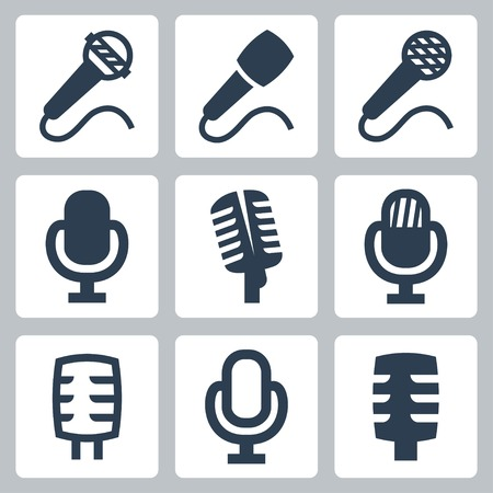 podcasting: isolated microphone icons set