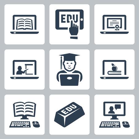 educaci�n en l�nea: iconos de la educaci�n en l�nea establecen Vectores
