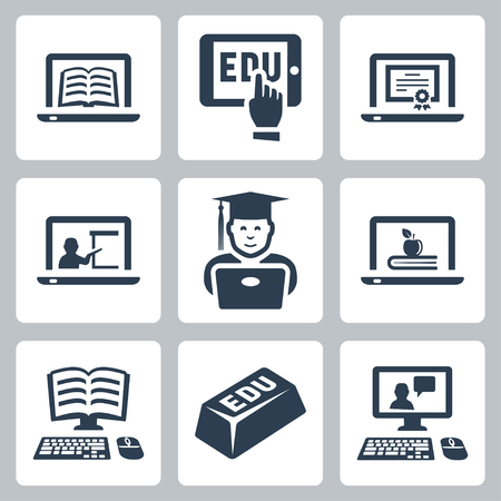 computer instruction: online education icons set