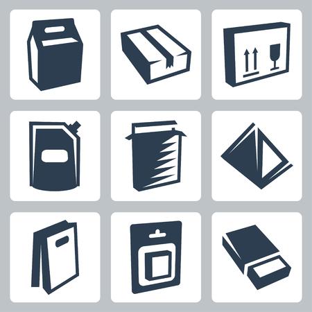 cardboard packaging: package icons set