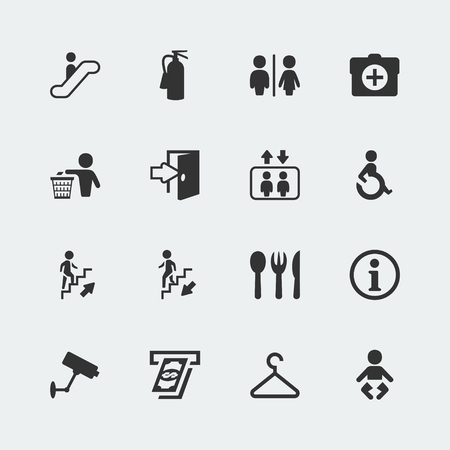fire extinguisher sign: Vector public signs icons set