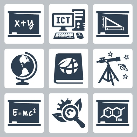 school subjects icons set: algebra, ICT, geometry, geography, ecology, astronomy, physics, biology, chemistry Vector