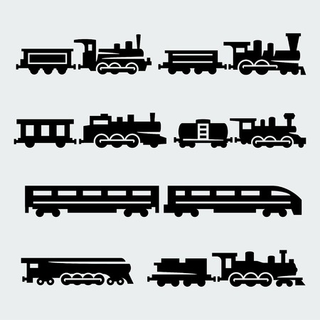 trains silhouettes set Иллюстрация