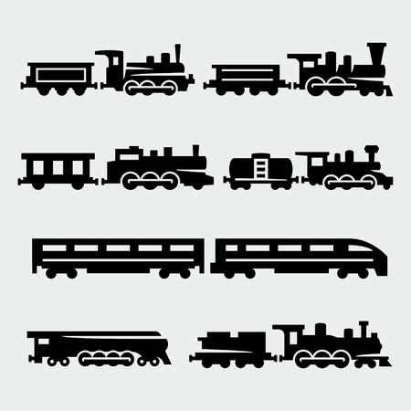 maquina vapor: trenes siluetas fijaron Vectores