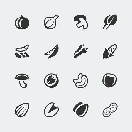 pumpkin seeds: vegetables and nuts mini icons set