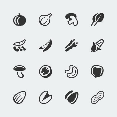 anacardo: verduras y mini iconos nueces establecidos Vectores