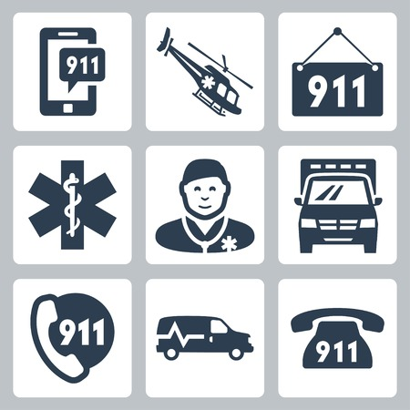 emergency number: emergency service icons set