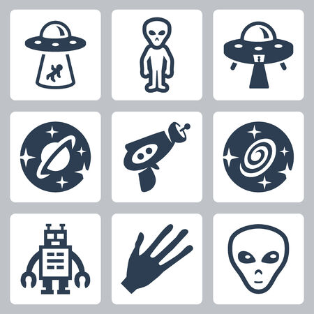 alien face: aliens and ufo icons set
