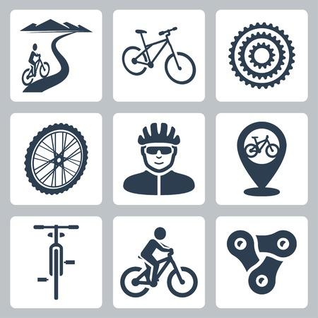 silueta ciclista: andar en bicicleta, Iconos ciclismo Vectores