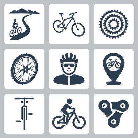 mountain bicycling: bicycling, cycling icons set Illustration