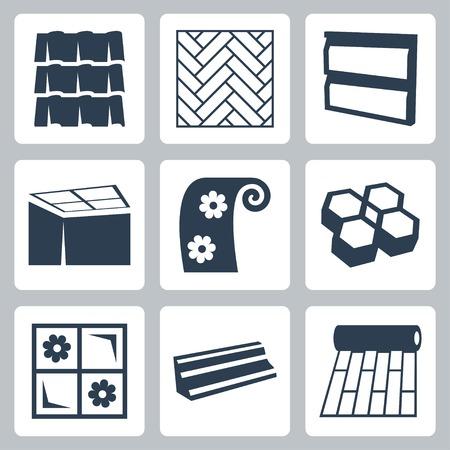 bouwmaterialen pictogrammen instellen Stock Illustratie
