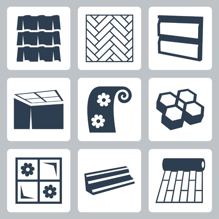 parquet floor: building materials icons set