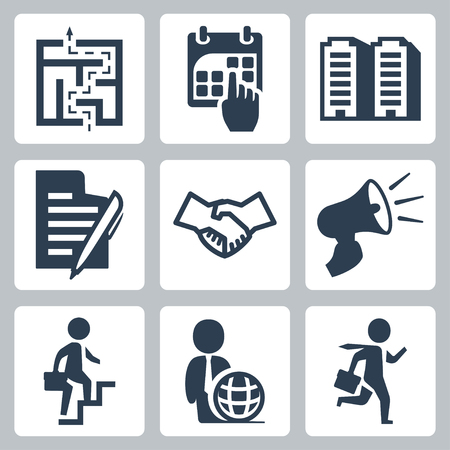 signing document: Vector business concept icons set